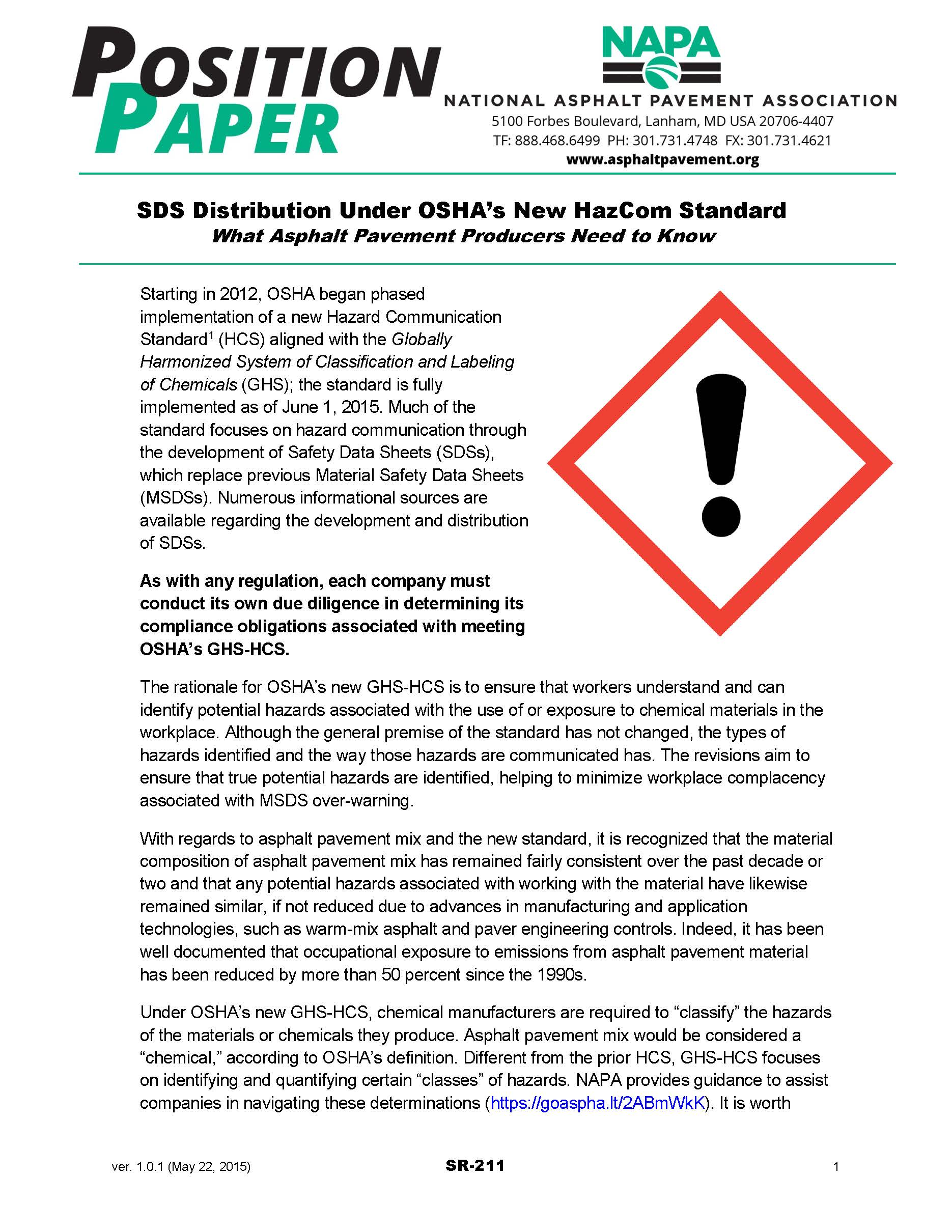 SDS Distribution Under OSHA's New HazCom Standard [PDF]