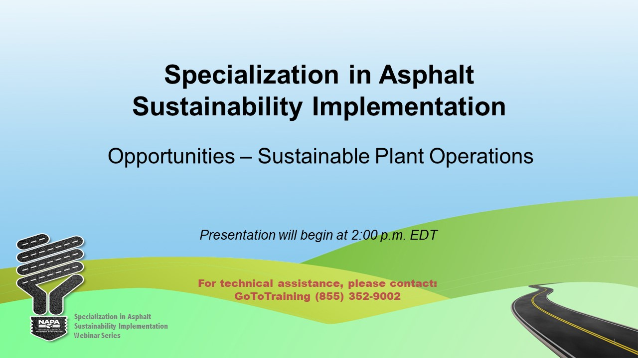 Specialization in Asphalt Sustainability Implementation: Opportunities — Sustainable Plant Operations
