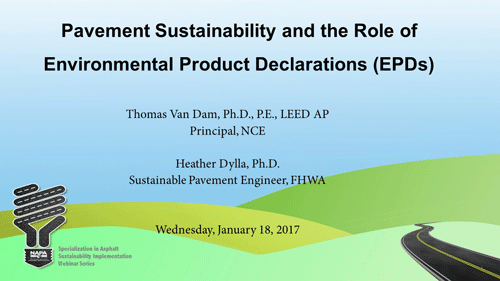 Specialization in Asphalt Sustainability Implementation: Tools — EPDs