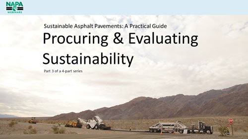 Sustainable Asphalt Pavements: A Practical Guide — Part 3: Procuring and Evaluating Sustainability